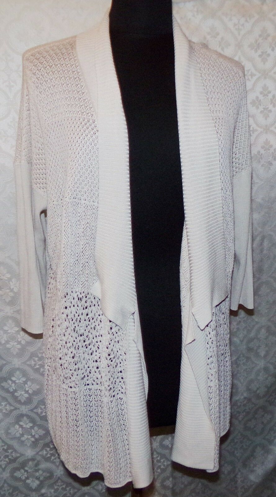 Eileen Fisher Open Front Cardigan L Eggshell Silk Blend Womens Top Loose Knit