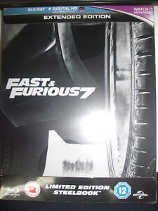 Fast-amp-Furious-7-Extended-Edition-SteelBook-Region-Free-UK-Import-New-Sealed
