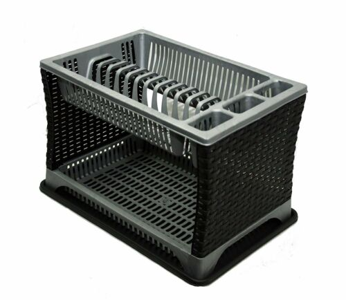 2 Two Tier Kitchen Dish Drainer Plate Bowl Cup Mug Cutlery Rack Holder Plastic
