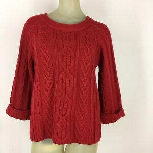 Coldwater-Creek-woman-s-sweater-red-cable-knit-size-small