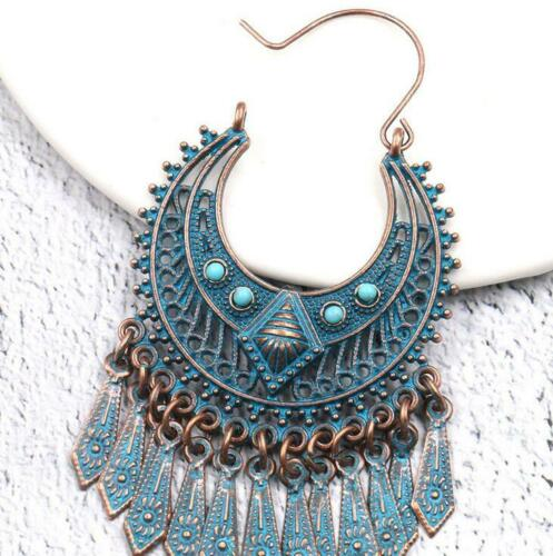 NEW Fashion retro Women Tassel pendant Exaggerated alloy jewelry earrings