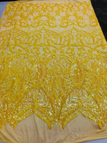4 Way Stretch Sequins Fabric Iridescent Yellow Mesh Lace Fabric Prom-Gown 1Yard