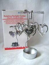 NEW METAL 3D 4WAY LOVE HEART TEA LIGHT POWERED SPINNING CANDLE HOLDER ROXAN OOTB