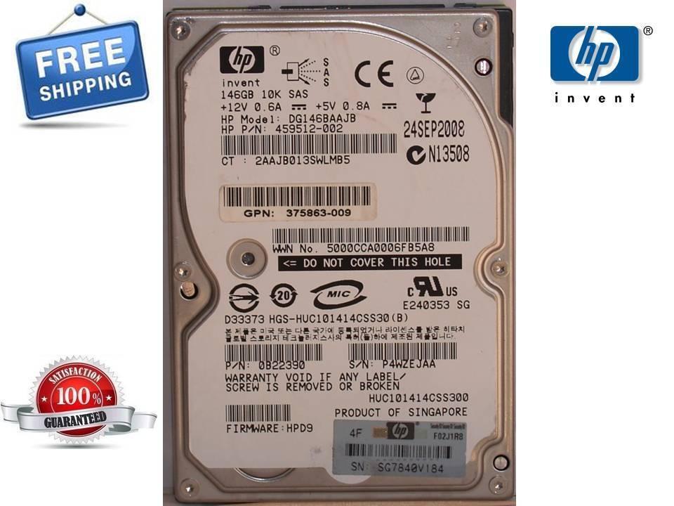 "HP DG146BAAJB 459512-002 146GB 10K 2.5/"" sas hard drive 375863-010"