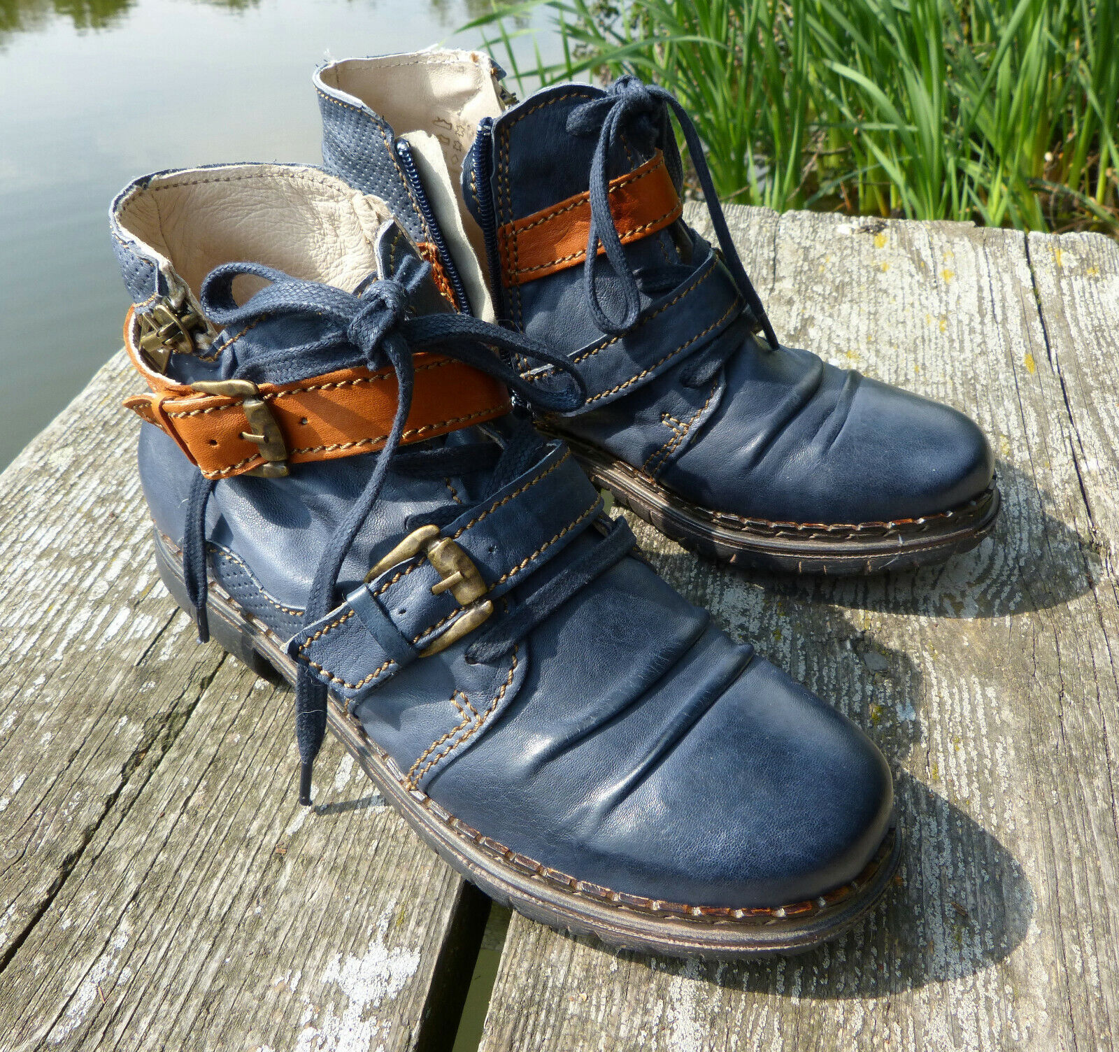 Rovers Stiefelette Halbschuh Gr. 38 blau   jeans Stiefel Leder neu