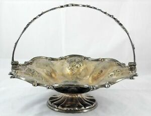 Antique Elkington and Company Silverplate Handled Basket Repousse Floral 1845