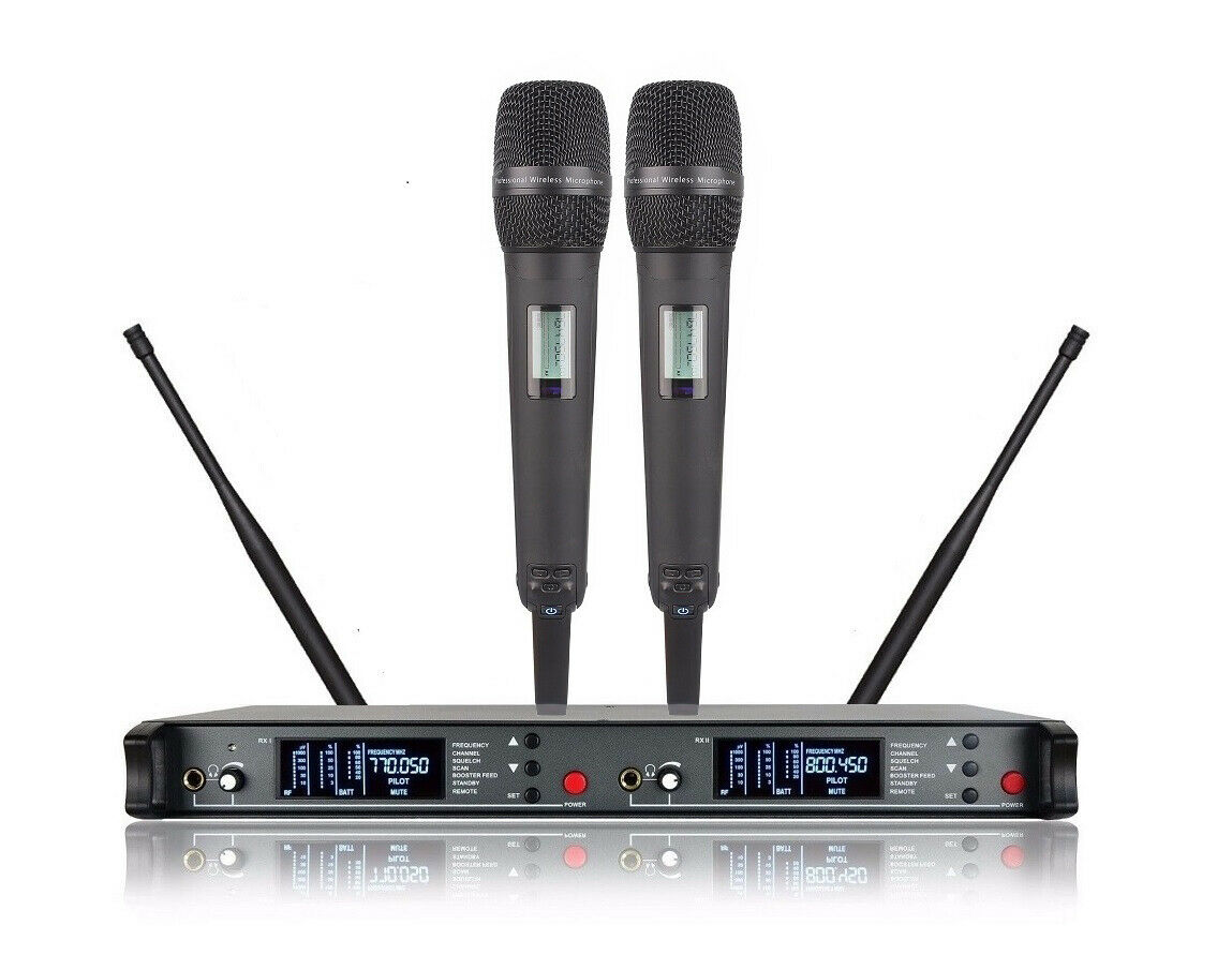 Cordless Microphones for Church Diversity Dual UHF Wireless Microphone System
