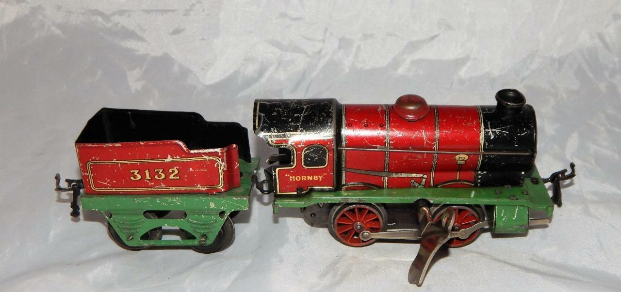 Vintage tin Meccano Hornby WIND UP Steam Engine & 3152 tender Christmas Reverse
