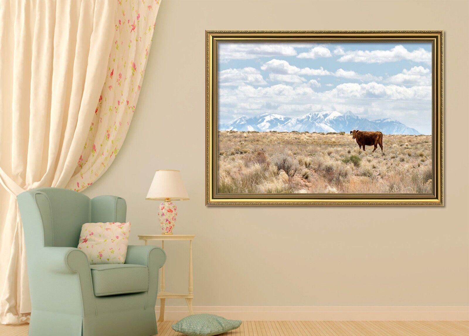 Cartel enmarcado 3D hierba ganado 51 De Decoración del Hogar Pintura de Impresión Arte AJ Wallpaper