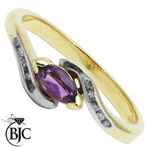 BJC-9-ct-Oro-amarillo-Amatista-amp-Diamante-Marquesita-Retorcido
