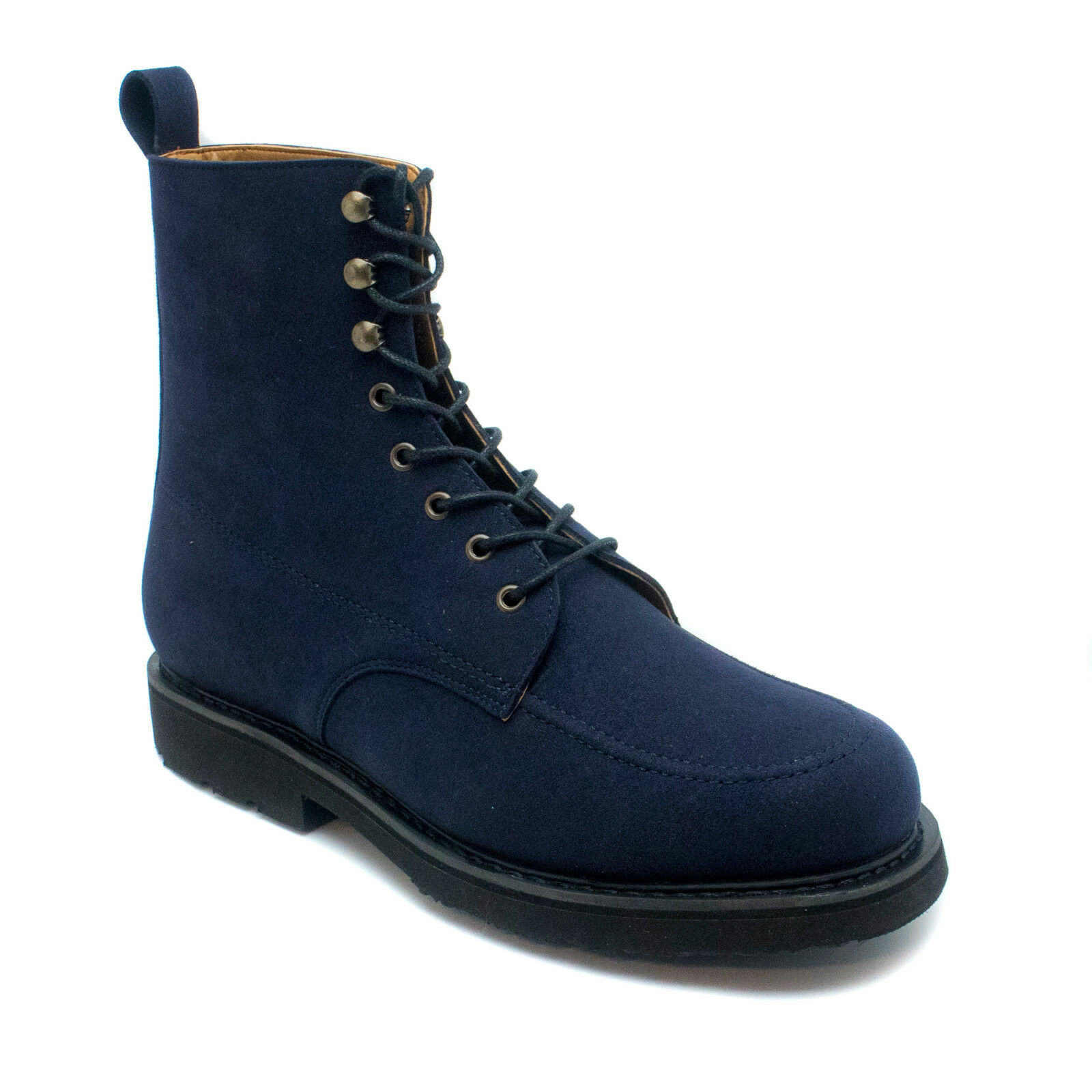 Man vegan short boot round plain toe made with eco micro-suede Sewn Goodyear sys