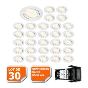 LOTDE-30-SPOT-LED-ENCASTRABLE-COMPLETE-ORIENTABLE-BLANC-AVEC-AMPOULE-GU10-230V