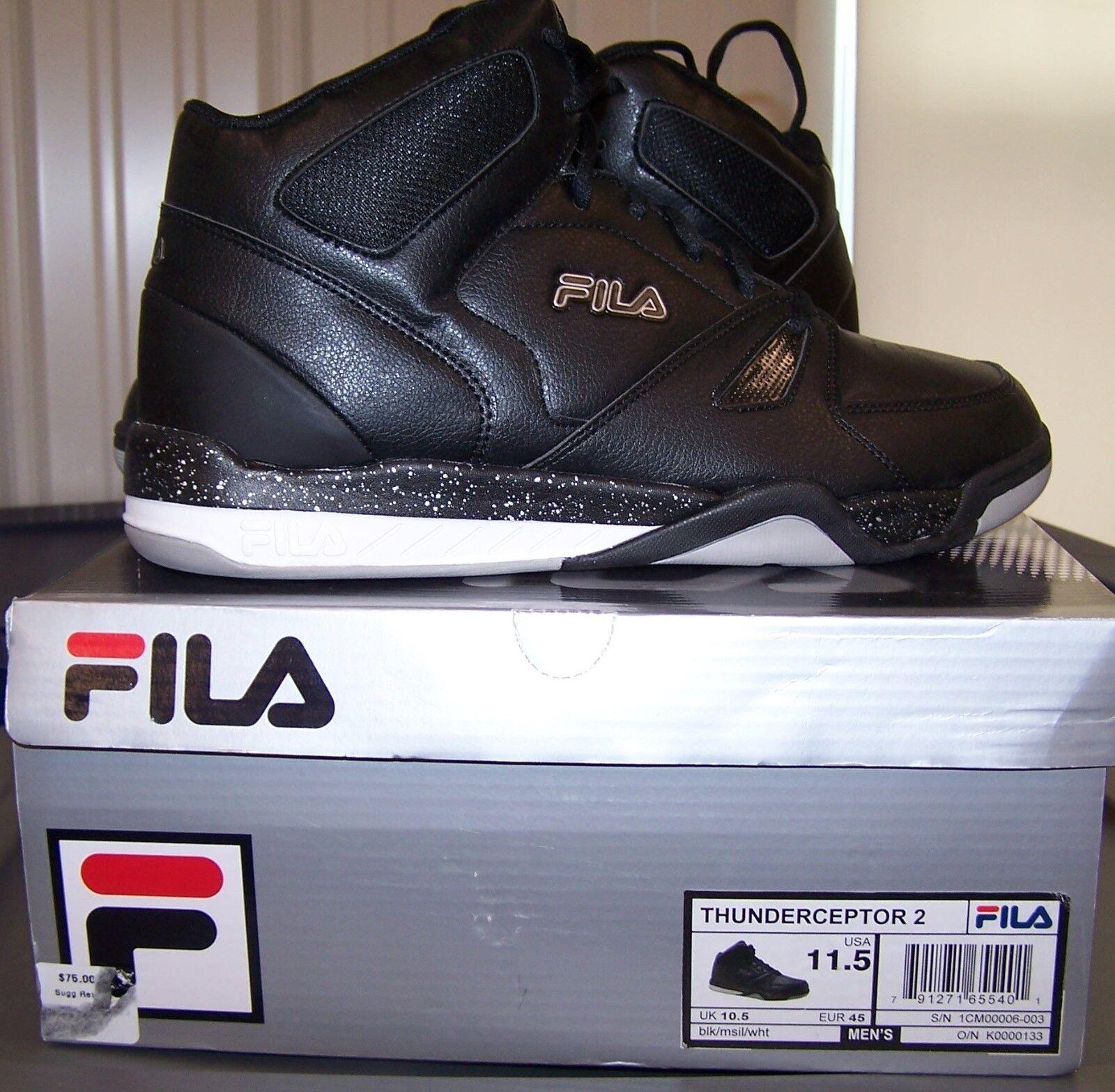 Baloncesto calzado Nuevo tenis fila Thunderceptor 2 Alta Nuevo calzado Negro Para Hombres 9.5 11.5 372222