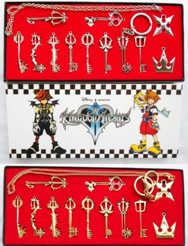 Kingdom Hearts II Sora Keyblade Keychain Keyring Pendant Necklace+Gift Box 12pcs