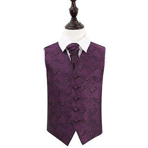 DQT-Floral-Paisley-Purple-Boys-Wedding-Waistcoat-amp-Cravat-Set