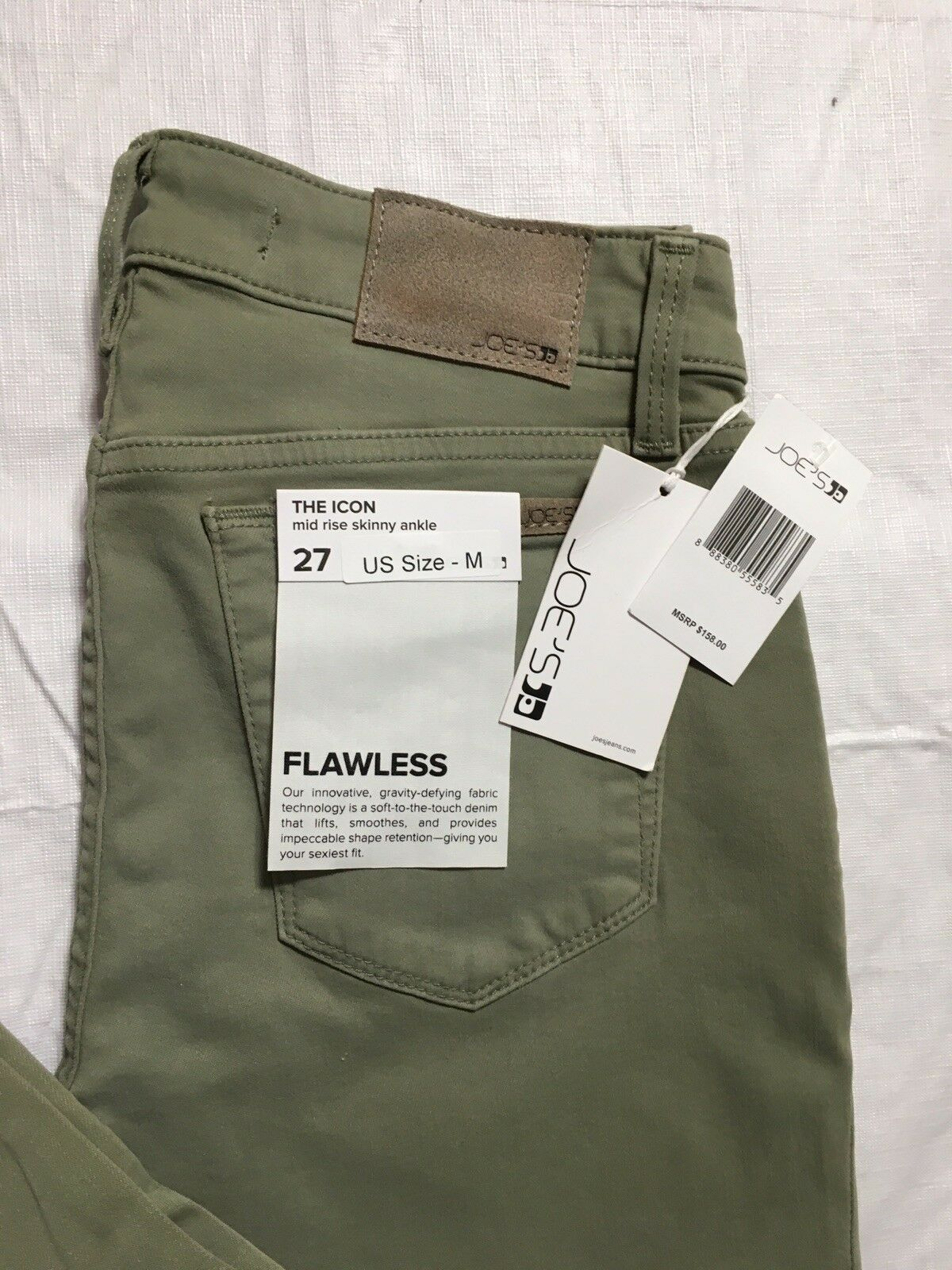 Joes Jeans The Icon Mid Rise Skinny Ankle Size 27 Flawless Green Stretch NWT