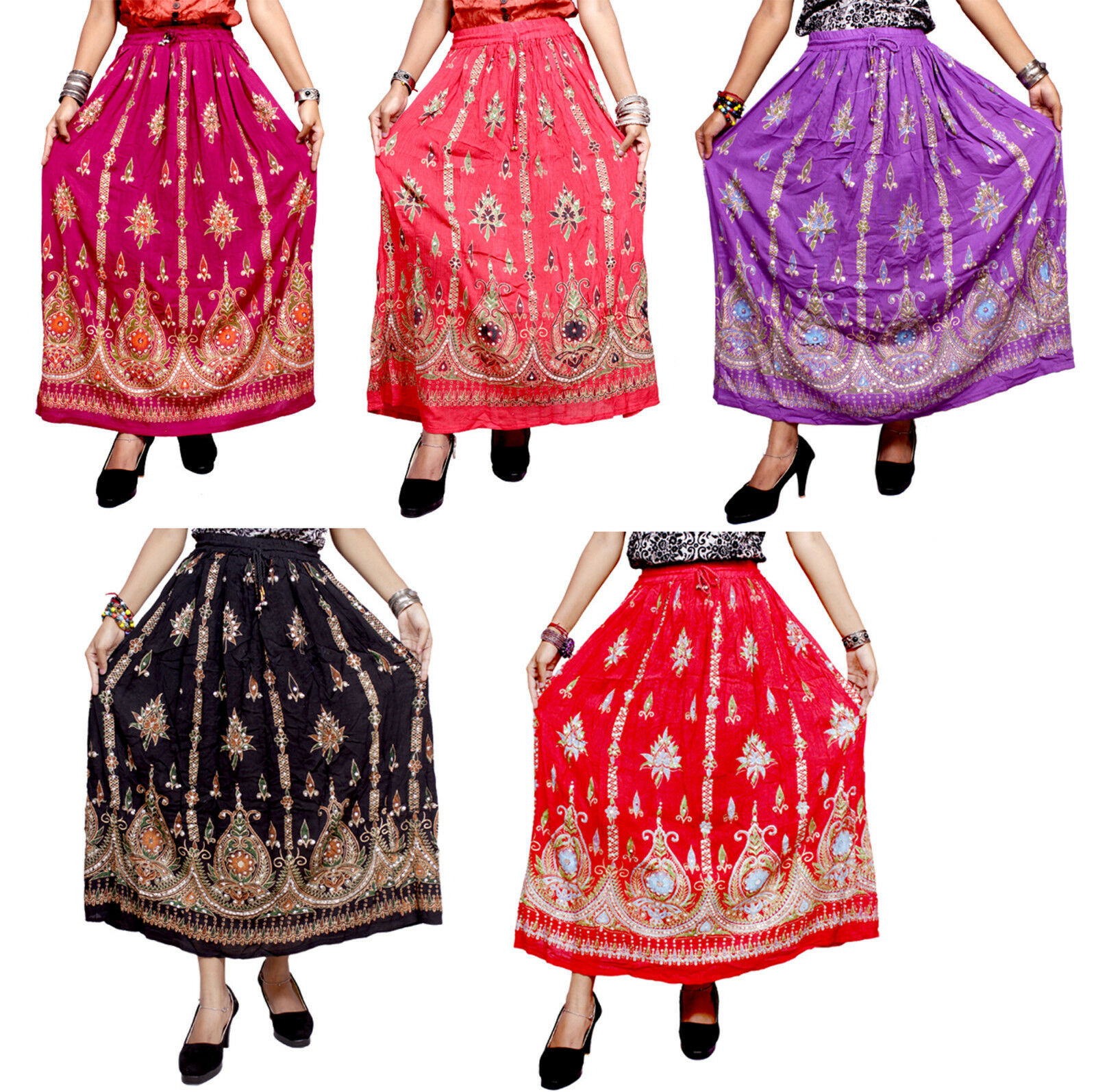Apparels India 5Pcs-100pcs Embroidered Work USA Boho Long Skirts Wholesale Lot