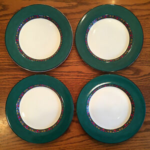 Image is loading Set-4-Dansk-Quiltings-Dinnerware-EMERALD-BRAID-Salad-  sc 1 st  eBay & Set 4 Dansk Quiltings Dinnerware EMERALD BRAID Salad Plates green ...