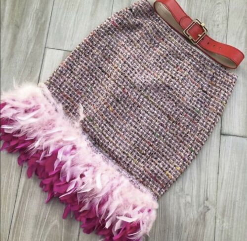 Pink Feather Boucle Skirt M