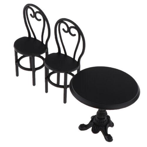3-teilig Mini Metall Tisch /& Stühle Esszimmermöbel Set für 1//12