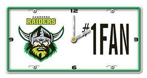 NRL-CANBERRA-RAIDERS-License-Number-1-Fan-Plate-Metal-Clock-Man-Cave-Christmas