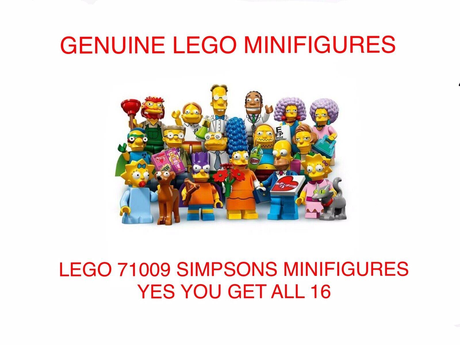 Lego The Simpsons Minifiguras 71009, Completo Conjunto de 16, abrió Bolso. nuevo. (24)