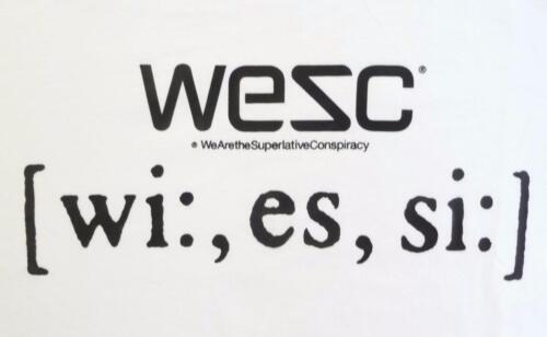 WESC Superlative Phonetic Graphic Tee Mens White 100/% Cotton T-Shirt New NWT