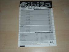 50347) Seat Ibiza Preise & Extras Prospekt 12/2003