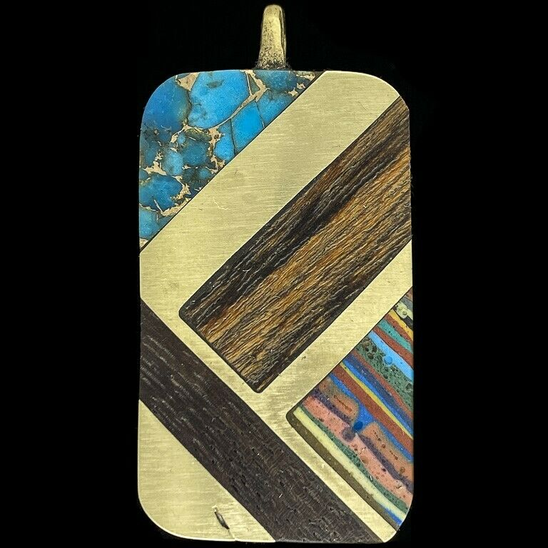 Vintage Rare SST Wood Turquoise Inlay Hippie MCM Gift KeyChain Necklace Pendant