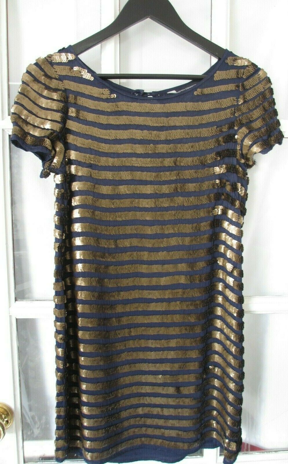 French connection bluee gold sequin dress size 10 great condition