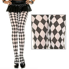 Black Diamond Jester Pantyhose Tights Harlequin Design Stockings Halloween OS US