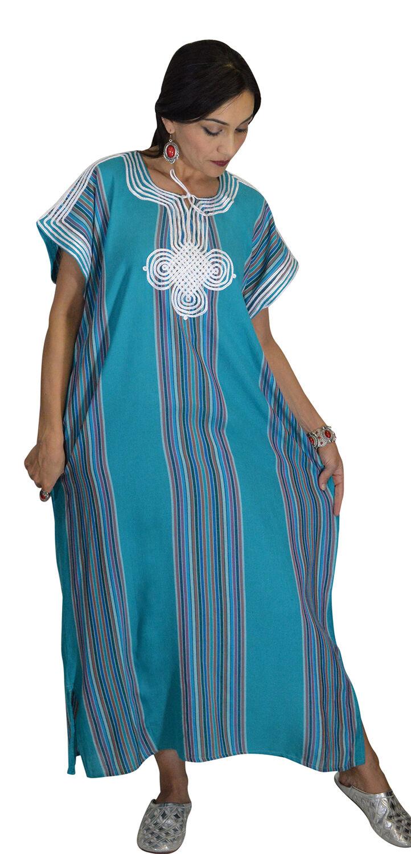 Moroccan Kaftan Caftan Beach Cover Up Summer Dress Casual Linen Sm-Lg Teal
