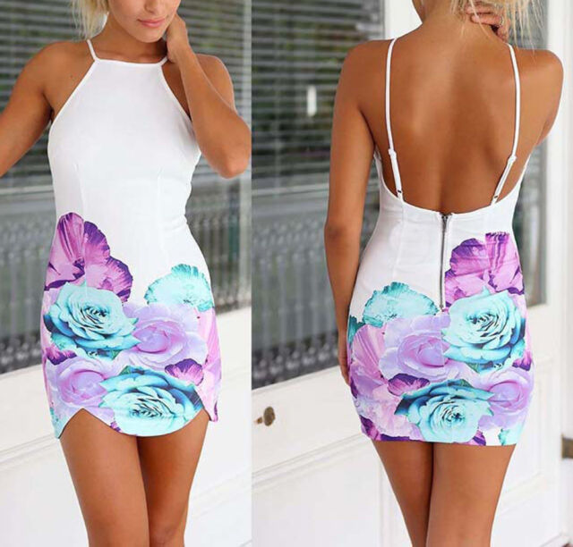 2015 Sexy Women Floral Party Cocktail Evening Bandage Bodycon Short Mini Dress