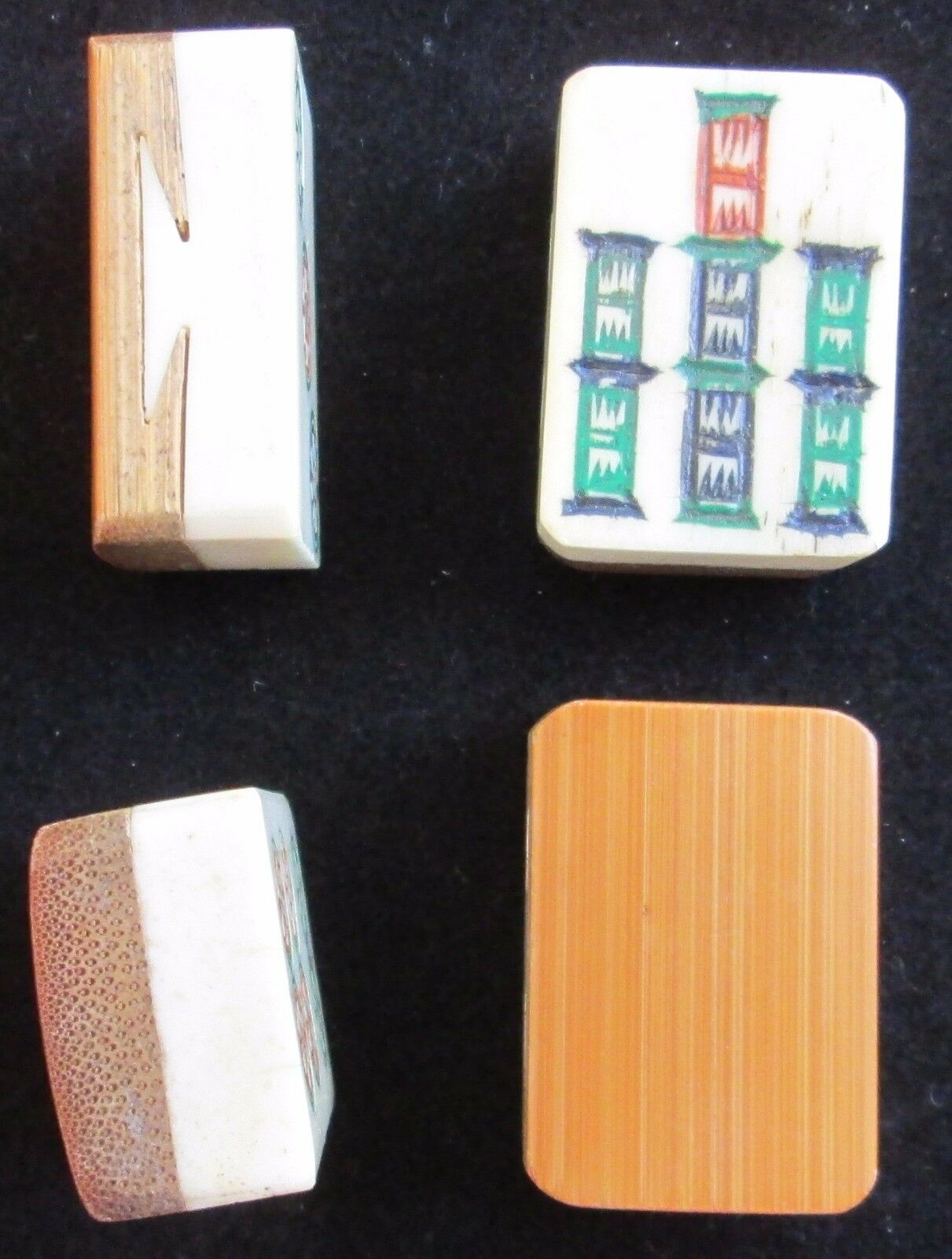 Vtg Set, 4 Bone & Bamboo Mahjong Tiles Mah Jongg Orphans Replacements Joker BB82
