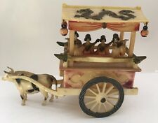 Japanese Celluloid Carved Cart Oxen Japan Geishas Wheels Lanterns Dragon 4 1/2""