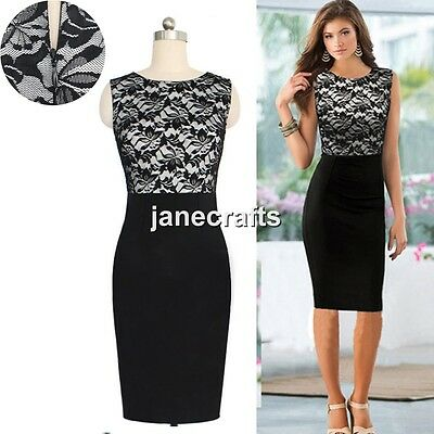 Women Summer Sleeveless Lace Slim Bodycon Cocktail Party Evening Pencil Dress