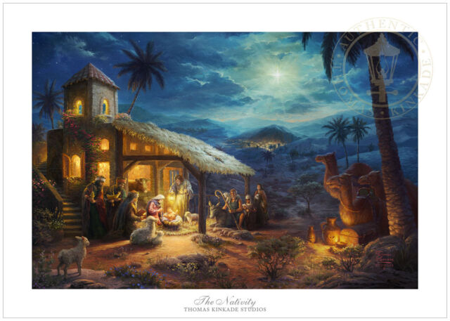 thomas kinkade christmas the nativity 18x27 gp limited edition paper