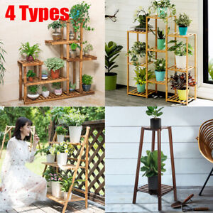 Garden-Wood-Plant-Stand-Pot-Planter-Holder-Rack-5-Tier-Display-Shelves-Outdoor