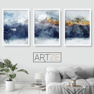 Details About Abstract Set Of 3 Navy Yellow Gold Watercolour Mountains Wall Art Print Picture