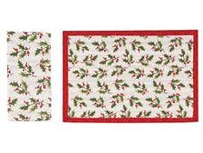 4 Reversible Christmas Winter Cardinal Wreath Kitchen Place Mats Placemats