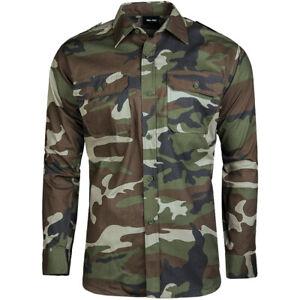 Mil-Tec Mens Long Sleeve Military Uniform Army Shirt Cotton Hunting Top Woodland