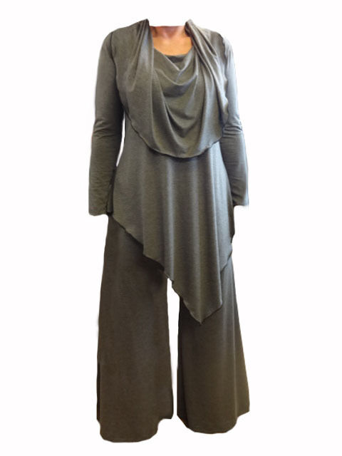CA63 Caroline Ann LagenlookCowl Neck A-Symmetric Tunic and Trouser Made  in UK