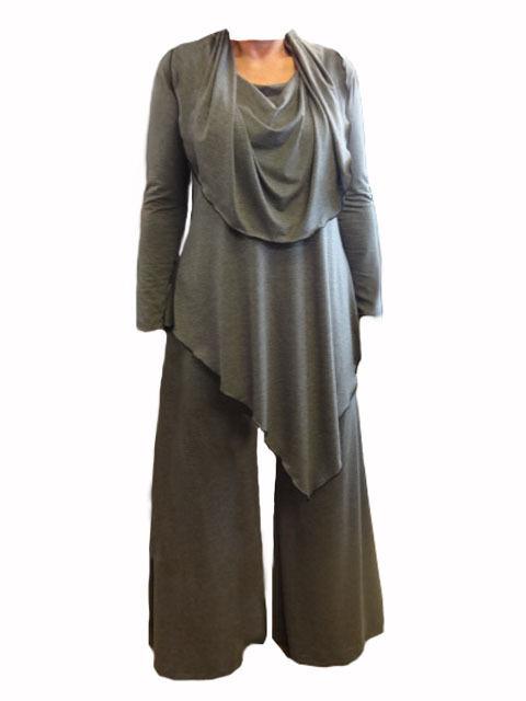 CA63 Ann LagenlookCowl collo Caroline A-simmetrici Tunica E Pantaloni Made in UK