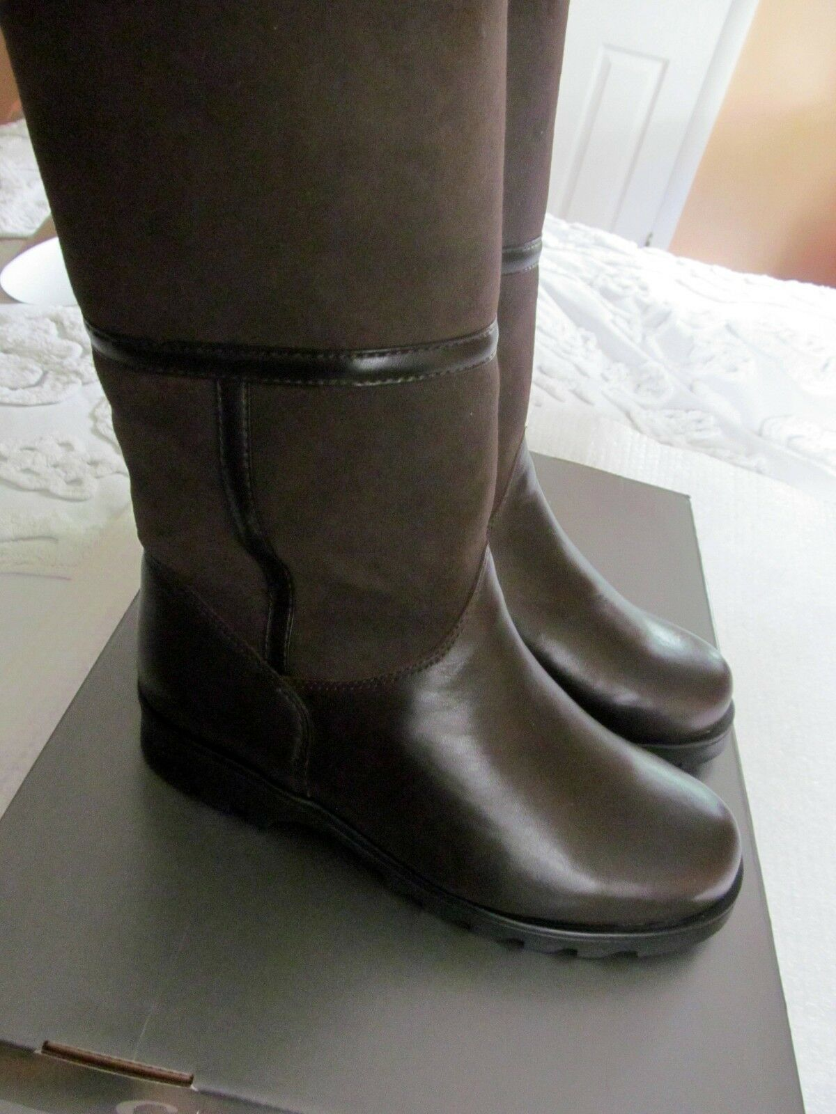 La Canadienne Kosmo Shearling-Lined Suede and Pelle Brown Stivali Size 7.5  230