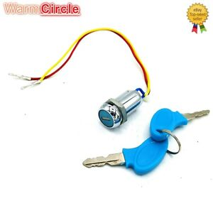 2 Wire Ignition Key Switch Lock Scooter ATV Moped Go Kart Electric Bike