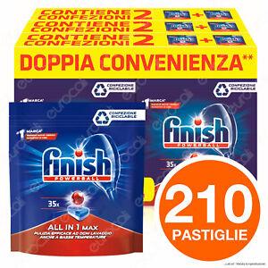 210 Pastiglie Lavastoviglie Detersivo Finish Powerball Regular AIO All in 1 Max