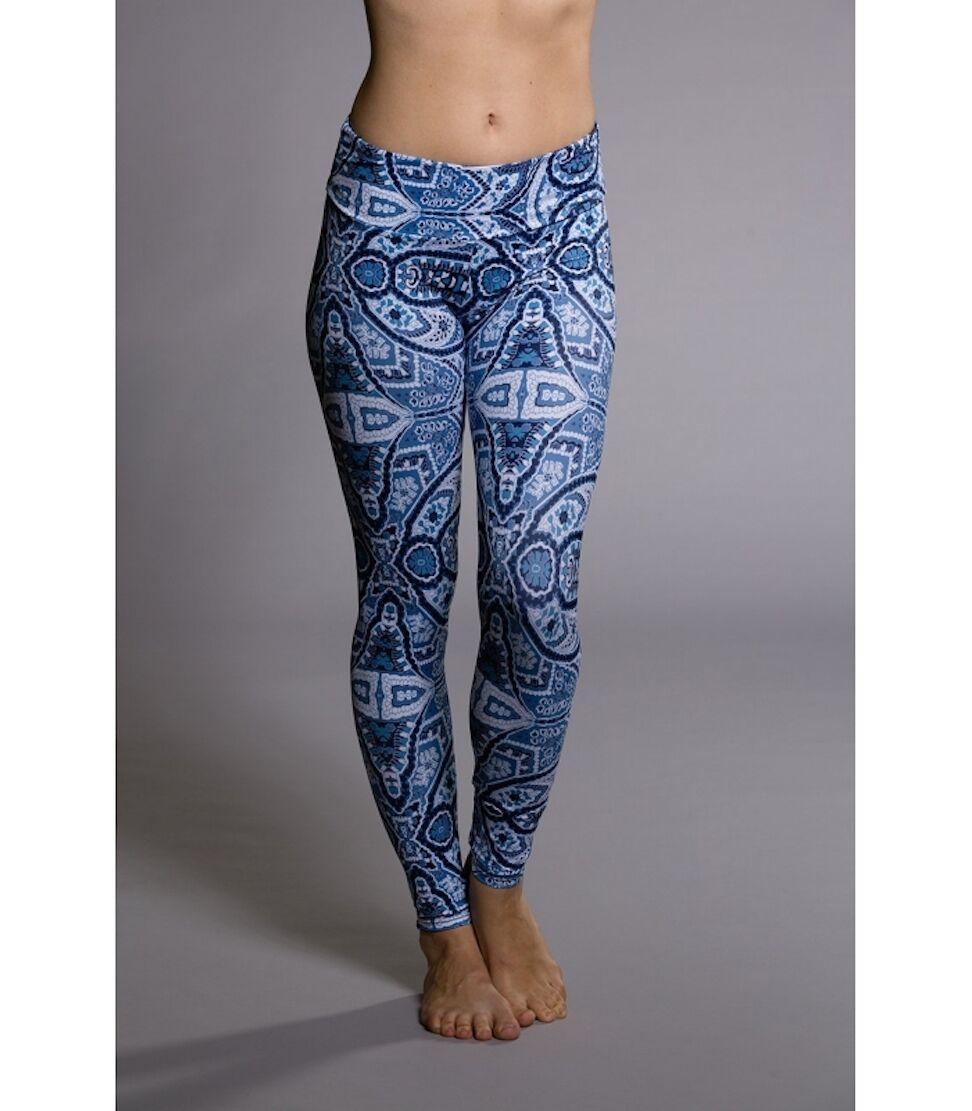 Onzie Long Legging 209 Iris Yoga Wear Sz XS NWT bluee Wallpaper Print
