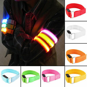 LED-NYLON-Bracelet-Bande-reflechissante-Brassard-Velo-Jogging-Securite-Schutz