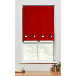 Square-Eyelet-Roller-Blind-Trimmable-Window-Blinds-Polyester-Red-90cm-x-90cm