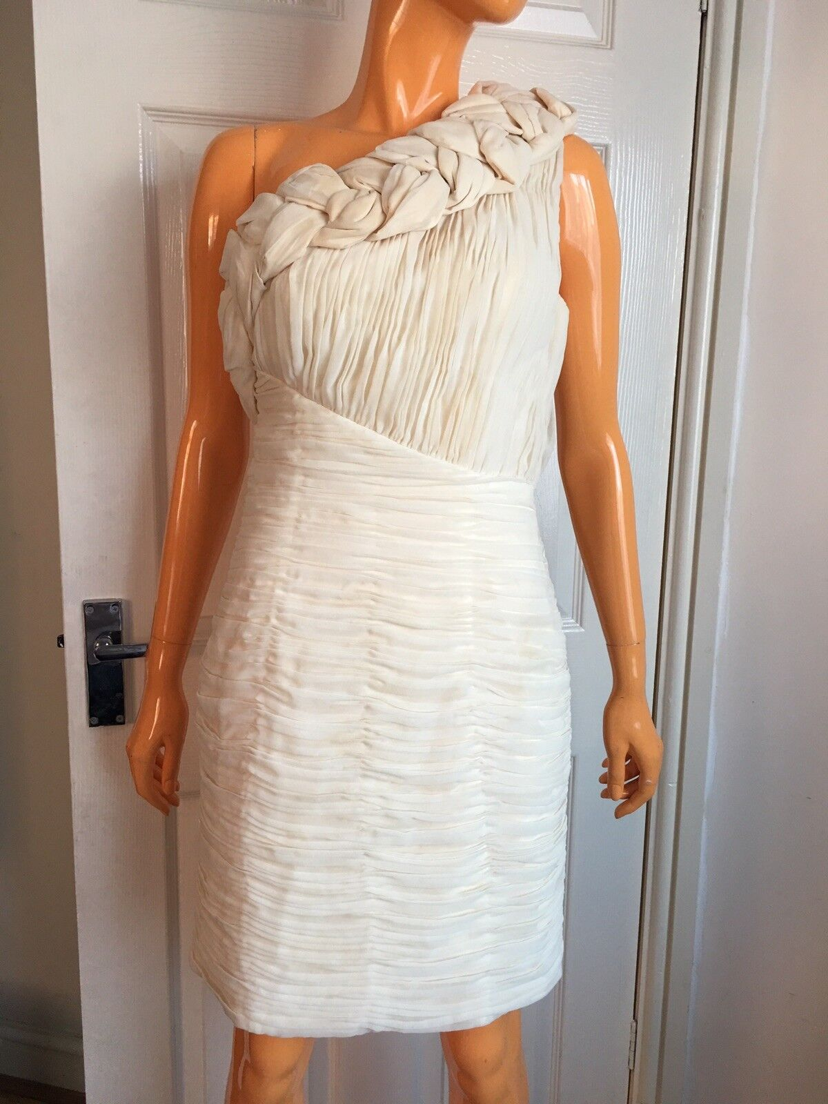 Rare Opulence Cream Ivory One Shoulder Plait Details Bodycon Ruched Dress UK10